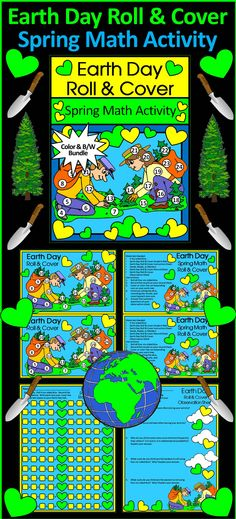 Earth Day Roll & Cover Spring Math Center Activity Packet: Gives your students a fun and festive way to practice addition in series in a hands-on way!  Contents Include: * Student Work Mat * Instruction Sets * Student Record Sheet * Student Observation Sheet  #Earth #Day #Spring #Math #Activities #Teacherspayteachers