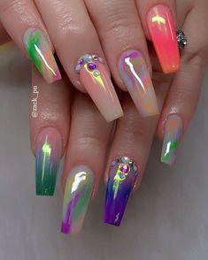 Cute Acrylic Nail Designs, Beautiful Nail Designs, Nail Art Designs, Summer Acrylic Nails, Best Acrylic Nails, Hot Nails, Swag Nails, Crochets Braids, Ballerina Nails