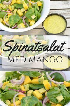 Fantastisk salat med spinat, mango og avocado samt en vildt lækker dressing. Og så tager den kun et øjeblik at bikse sammen.
