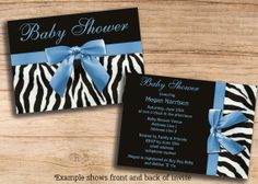 Baby Shower Invitations Zebra Stripes Blue Bow Printable DIY Double Sided JPEG Cheap Invites Personalized Custom Templates. Changes are FREE...