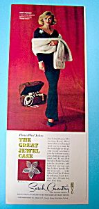 """This fine vintage advertisement for a 1966 ad for Sarah Coventry Jewelry is in very good condition but is slightly yellowed and measures approx. 5 """" x 13 1/2 """". This vintage jewelry magazine ad is suitable for framing. This vintage Sarah Coventry advertisement depicts """"Anne Francis"""" who Starred in """"Honey West""""."""