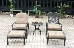 Patio conversation set cast aluminum 5pc Elisabeth club chairs ottoman Bronze