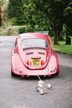 red vw beetle wedding car | onefabday.com