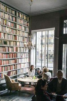 Merci concept store - Enjoy a tome with your tea and scones at the Used Book Café Cozy Coffee Shop, Coffee Shop Design, Coffee Shops, Cafe Design, Design Design, House Design, Book Design, Restaurant Interior Design, Modern Restaurant