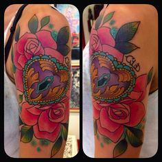 heart and roses tattoo