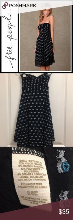 Free People 'He loves me' bandeau dress Perfect, like new condition- Stretch strapless dress with embroidered mesh overlay. Lined interior. Ruching at chest. Uneven bottom. Size XS Free People Dresses