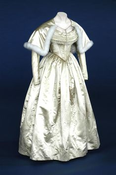 Wedding Dress With Shoulder Cape (Satin edged with swansdown) 1840 -- English