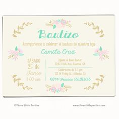Girl Baptism Invitation Invitacion Bautizo por ThreeLittleParties                                                                                                                                                                                 Más