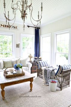 Savvy Southern Style : Summer Blues in the Sun Room. Sunroom Decorating, Decorating Ideas, Summer Decorating, Decor Ideas, Summer Colors, Summer Blues, Blue And White Pillows, Shabby Chic Mirror, Savvy Southern Style