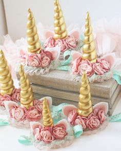pink gold aqua tulle satin flower unicorn horn headband bow by Birdie baby boutique