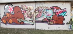 """THE ANATOMY OF MOTHER BEAR GIVING BIRTH""  By Flying Fortress and Nychos (Vienna 2012)"