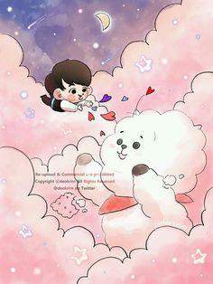 Cloud series with - Jin and RJ Bts Chibi, Bts Drawings, Line Friends, Bts Fans, Kpop Fanart, Foto Bts, Anime, Bts Pictures, Boy Scouts
