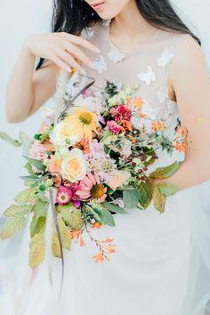 Pretty Butterfly Inspired Wedding Ideas – Anja Schneemann Photography 63 Bridal Musings, Butterfly Wedding, Wedding Flowers, Bouquet Wedding, Peach Bouquet, Greenhouse Wedding, Wedding Inspiration, Wedding Ideas, Wedding Details