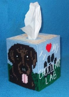 Free Plastic Canvas Tissue Box Patterns | Chocolate Labrador Tissue Box Cover Plastic by RainbowPonyDesigns