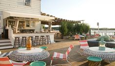 The Surf Lodge Montauk: The Surf Lodge's 2,600-square-foot back deck is an all-day party on Montauk's Fort Pond.