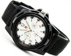 Viliysun-Hot Sale Luxury Analog New Fashion Trendy Sport Military Style Wrist Watch for MEN Swiss Army Quartz Watch Gift (Black White) -