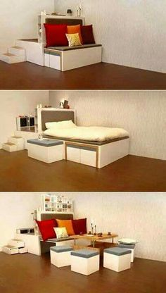 Convertible bed to table chairs