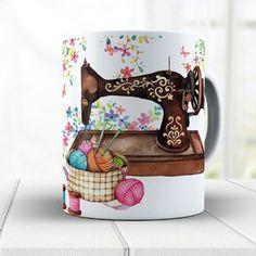 Decoupage Vintage, Paint Designs, Mug Designs, Ceramic Painting, Ceramic Art, Costura Vintage, Sewing Machine Drawing, Minion Hats, Tiffany Art