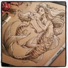 """2,018 Likes, 57 Comments - Kellee Riley (@kelleeart) on Instagram: """"Happy Mermaid Monday! Here is the final commission for a mother and daughter mermaid. #art #fantasy…"""""""