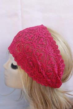 Check out this item in my Etsy shop https://www.etsy.com/listing/156658023/pink-stretchy-lace-headband-turban