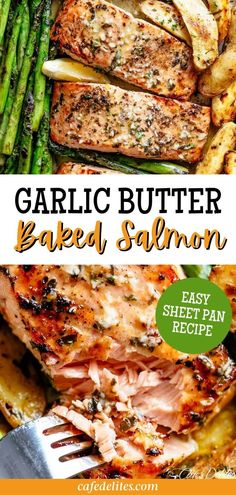 This sheet pan garlic butter baked salmon is the recipe of your dreams! Our baked salmon recipe delivers soft, juicy, and tender salmon on the inside with charred crisp edges. A delicious restaurant-quality dinner! What you will love the most about this Garlic Butter Baked Salmon recipe is that you can prepare it all on just one sheet pan. It's the perfect way to get your sides cooked alongside your main dish, especially when you need something quick to throw together. Shrimp Recipes Easy, Baked Salmon Recipes, Fish Recipes, Seafood Recipes, Delicious Restaurant, Delicious Dinner Recipes, Salmon And Asparagus, Healthy Slow Cooker, Seafood Dinner