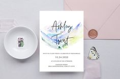Mountain Wedding Invitation, Wilderness Wedding, Outdoors Wedding, Adventure, Watercolor Pastel Mountains, Editable Corjl Template 351 Mountain Wedding Invitations, Floral Wedding Invitations, Wedding Shower Decorations, Custom Tags, Wedding Welcome Signs, Party Activities, Etsy App, Shower Party, As You Like