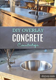 Brilliant DIY Concrete Countertops Are Easier Than You Think! - DIY Joy DIY Concrete Countertops Tutorial With Step By Step Instructions - Cheap and Easy Home Improvement Projects - Great for Kitchen and Bathroom