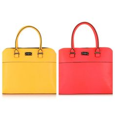 Yellow and coral bags from Paul's Boutique available at Stuttafords. The Maisy bags are R2 199.95 each #fashion #handbag #accessories