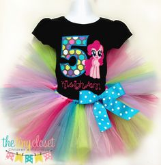 Personalized My Little Pony Birthday Tutu Set - Pinkie Pie Multi Color