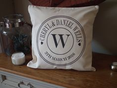 """Excited to share the latest addition to my #etsy shop: Personalised Wedding, Anniversary Celebration Cushion Cover 18"""" x 18"""" cotton canvas http://etsy.me/2DcbSYO #weddings #cottoncanvas #natural #cotton #teeshack"""