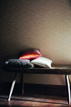 Koto wallpaper from Harlequin's Momentum collection features an abstract cobweb design depicted in delicate beading.