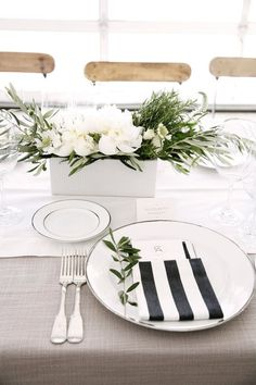 Loving the tan with the black, white and greenery!