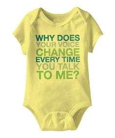 Another great find on #zulily! Banana 'Why Does Your Voice Change?' Bodysuit - Infant by Urs Truly #zulilyfinds