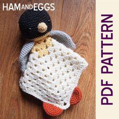 Cute Amigurumi Penguin Security Blanket PDF Crochet Pattern