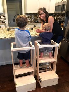 This is the ORIGINAL TeddyGrams adjustable Tot Tower. We have 2 very happy grandsons and over 600 customers. Your childs safety is worth every penny spent on this Tot Tower. We are now shipping these Tot Towers COMPLETELY assembled and ready to use as you pull it right out of the box! There is NO assembly required. Our Childs Kitchen Helper Step Stool stands 32 tall, 15 1/2 inches wide and the base is 17 1/2 deep. This is perfect for your toddler as they shadow you in their curiosi...
