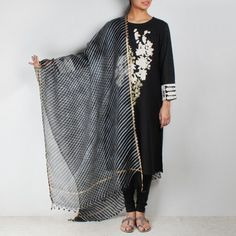 Black embroidered kurta with leheriya dupatta & leggings