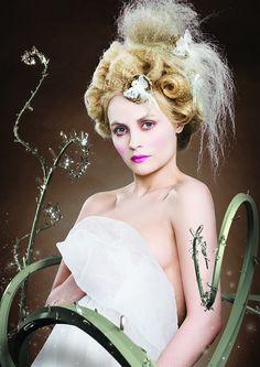 medium blonde curly coloured weird avant garde Womens hairstyles for women