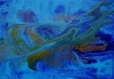 Fluid Painting in Blue, Abstrakte Malerei Karibik Bild 1