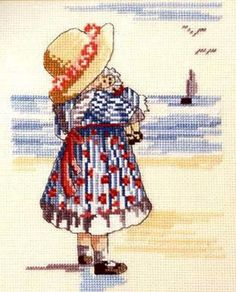 All Our Yesterdays - girl at the seaside preview - free cross stitch pattern pinned separately