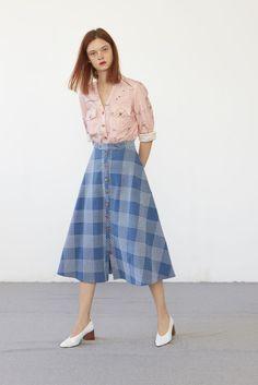 Heinui - HUGO midi skirt (heavy bleached sashiko-embroidered cotton)
