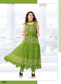 VandV Latest New Collection Green Anarkali Suits-SEM385-1011 - Online Shopping Marketplace Shopdrill.com