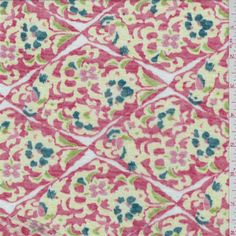 Coral red background with a soft yellow, spruce, lime, dark pink, mauve and whitefloral/lattice print. This very lightweight,…