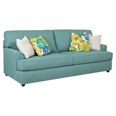 Brimming with timeless style for your den or living room, this classic sofa features welted detailing and turquoise cotton upholstery for a pop of color.