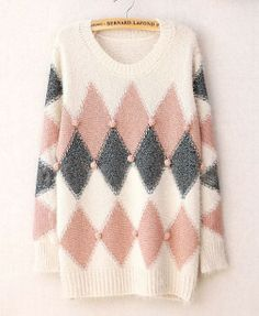 White & Pink Argyle Print Sweater #pompom #jumper #winter #comfy