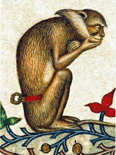 La scimmia pensarice. Miniatura tratta dal Breviario di Maria di Savoia, Lombardia, 1430 ca. Chambéry, Bibliothèque municipale, ms. 4, fol. 319r (dettaglio).