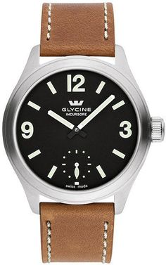 Glycine Watch Incursore II 44mm Manual #bezel-fixed #bracelet-strap-leather #brand-glycine #case-depth-10-3mm #case-material-steel #case-width-44mm #delivery-timescale-4-7-days #dial-colour-black #gender-mens #luxury #movement-manual #official-stockist-for-glycine-watches #packaging-glycine-watch-packaging #style-dress #subcat-incursore #supplier-model-no-3923-19-lb7bh #warranty-glycine-official-2-year-guarantee #water-resistant-100m