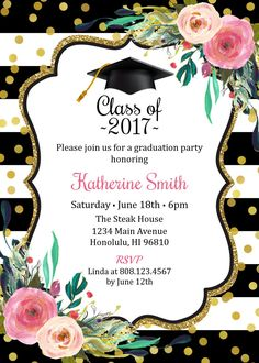 Shop Bridal Shower Watercolor Floral Gold Glitter Decor Invitation created by CardHunter. Personalize it with photos & text or purchase as is! College Graduation Parties, Grad Parties, Graduation Quotes, Graduation Caps, Grad Cap, Graduation Announcements, Retirement Parties, Graduation Party Invitations, Bridal Shower Invitations
