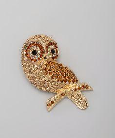 Smokey Topaz & Gold Owl Pin