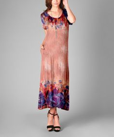 Look what I found on #zulily! Rust & Purple Floral Scoop Neck Maxi Dress…