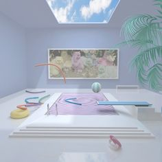 3D Pastel Colored Set Design